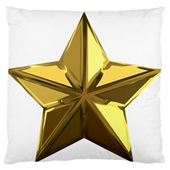 Stars Gold Color Transparency Large Flano Cushion Case (One Side)