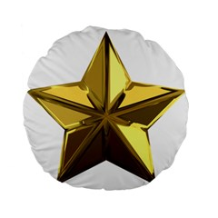 Stars Gold Color Transparency Standard 15  Premium Flano Round Cushions