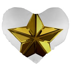 Stars Gold Color Transparency Large 19  Premium Flano Heart Shape Cushions