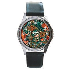 Painted Fractal Round Metal Watch