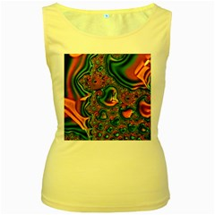Painted Fractal Women s Yellow Tank Top