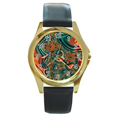 Painted Fractal Round Gold Metal Watch