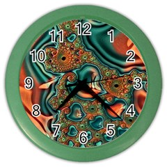 Painted Fractal Color Wall Clocks