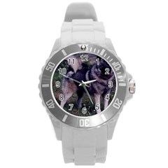 Norwegian Elkhound Full 3 Round Plastic Sport Watch (L)