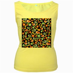 Spring pattern - black Women s Yellow Tank Top