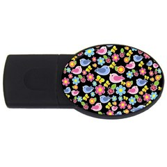Spring pattern - black USB Flash Drive Oval (4 GB)