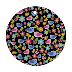Spring pattern - black Round Ornament (Two Sides)