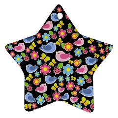 Spring pattern - black Star Ornament (Two Sides)