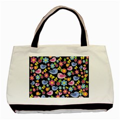 Spring pattern - black Basic Tote Bag (Two Sides)