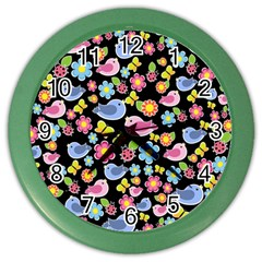 Spring pattern - black Color Wall Clocks