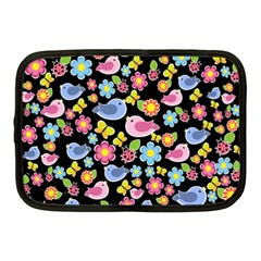 Spring pattern - black Netbook Case (Medium)