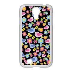 Spring pattern - black Samsung GALAXY S4 I9500/ I9505 Case (White)