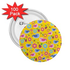Spring pattern - yellow 2.25  Buttons (100 pack)