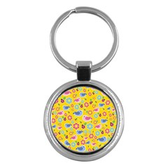 Spring pattern - yellow Key Chains (Round)