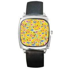 Spring pattern - yellow Square Metal Watch