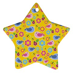 Spring pattern - yellow Star Ornament (Two Sides)