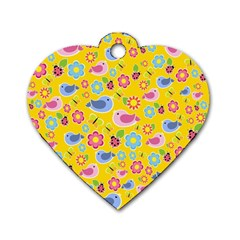 Spring pattern - yellow Dog Tag Heart (One Side)