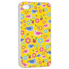 Spring pattern - yellow Apple iPhone 4/4s Seamless Case (White)
