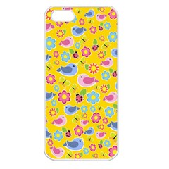 Spring pattern - yellow Apple iPhone 5 Seamless Case (White)