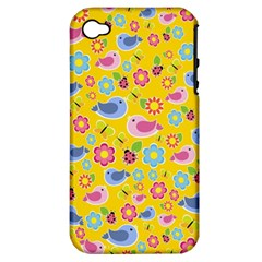 Spring pattern - yellow Apple iPhone 4/4S Hardshell Case (PC+Silicone)