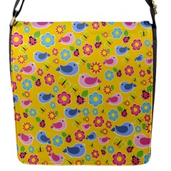 Spring pattern - yellow Flap Messenger Bag (S)