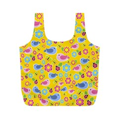 Spring pattern - yellow Full Print Recycle Bags (M)
