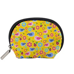 Spring pattern - yellow Accessory Pouches (Small)