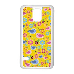 Spring pattern - yellow Samsung Galaxy S5 Case (White)