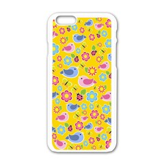 Spring pattern - yellow Apple iPhone 6/6S White Enamel Case