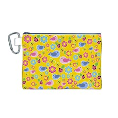 Spring pattern - yellow Canvas Cosmetic Bag (M)
