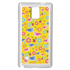 Spring pattern - yellow Samsung Galaxy Note 4 Case (White)
