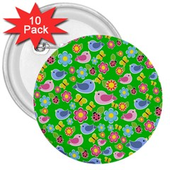 Spring pattern - green 3  Buttons (10 pack)