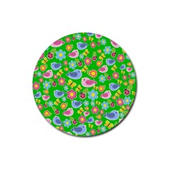 Spring pattern - green Rubber Round Coaster (4 pack)