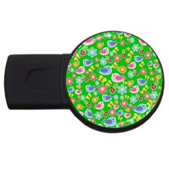 Spring pattern - green USB Flash Drive Round (2 GB)