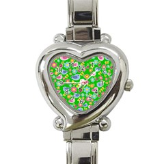 Spring pattern - green Heart Italian Charm Watch