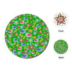 Spring pattern - green Playing Cards (Round)