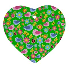 Spring pattern - green Heart Ornament (Two Sides)