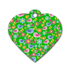 Spring pattern - green Dog Tag Heart (Two Sides)