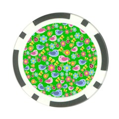 Spring pattern - green Poker Chip Card Guard