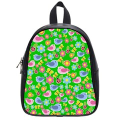 Spring pattern - green School Bags (Small)