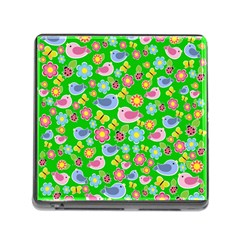 Spring pattern - green Memory Card Reader (Square)