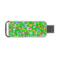 Spring pattern - green Portable USB Flash (Two Sides)