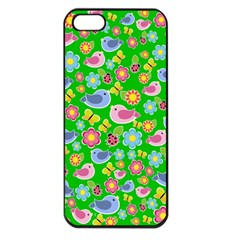 Spring pattern - green Apple iPhone 5 Seamless Case (Black)