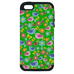 Spring pattern - green Apple iPhone 5 Hardshell Case (PC+Silicone)
