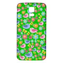Spring pattern - green Samsung Galaxy S5 Back Case (White)