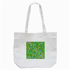 Spring pattern - green Tote Bag (White)