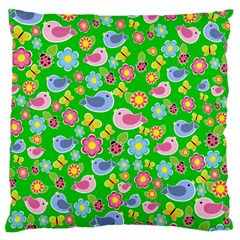 Spring Pattern   Green Large Flano Cushion Case (one Side)