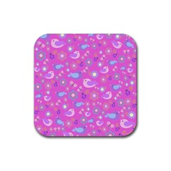 Spring pattern - pink Rubber Coaster (Square)