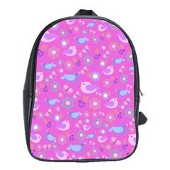 Spring pattern - pink School Bags(Large)
