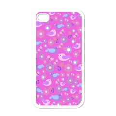 Spring pattern - pink Apple iPhone 4 Case (White)